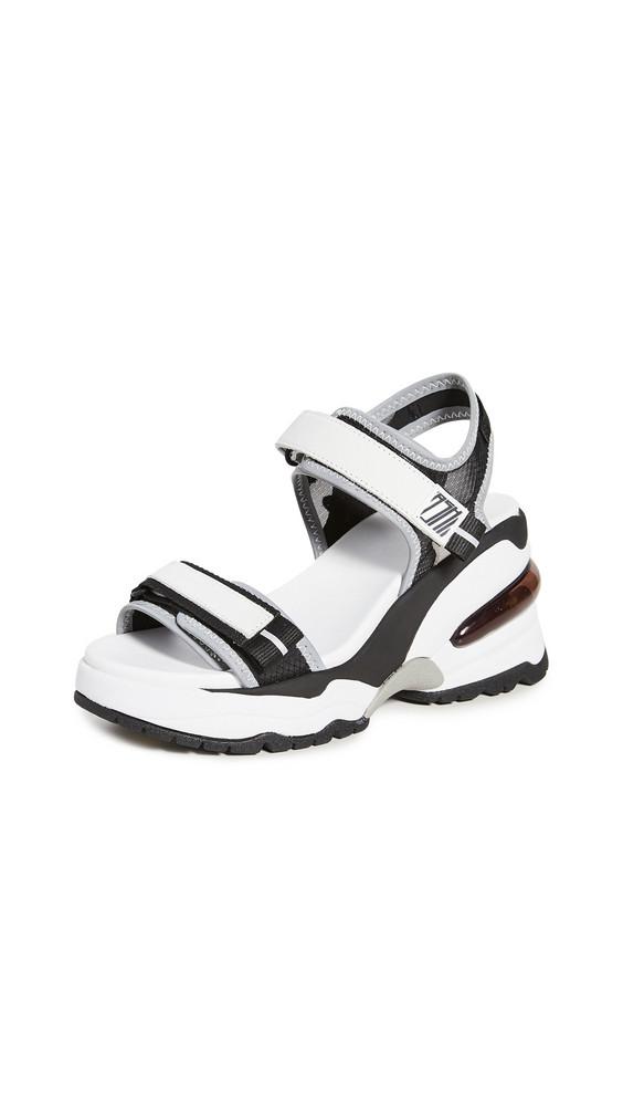 Ash Deep Wedge Sandals in black / silver