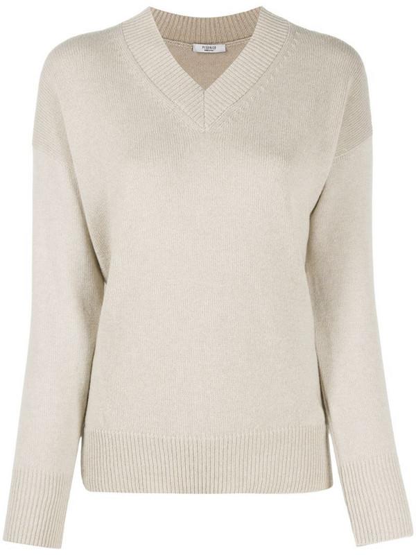 Peserico v-neck cashmere jumper in neutrals