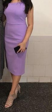 dress,lavender dress,lilac,midi dress,midi,purple,purple dress,formal dress,knee length dress