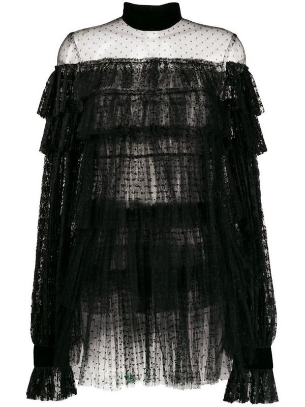Wandering lace ruffled short dress in black