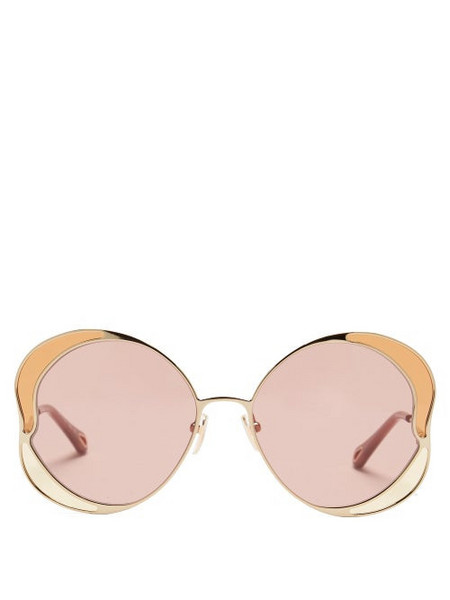 Chloé Chloé - Butterfly Metal And Acetate Sunglasses - Womens - Gold