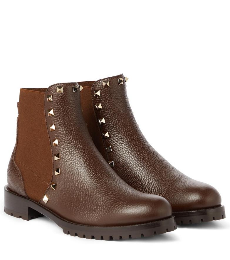 Valentino Garavani Rockstud leather Chelsea boots in brown