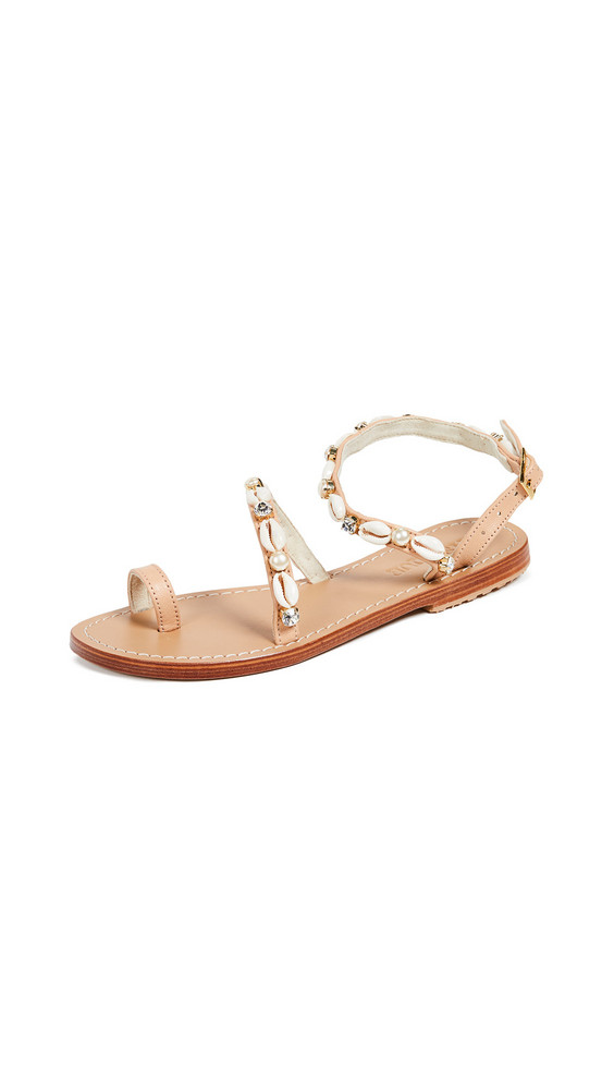Mystique Sea Shell Strap Toe Ring Sandals in beige