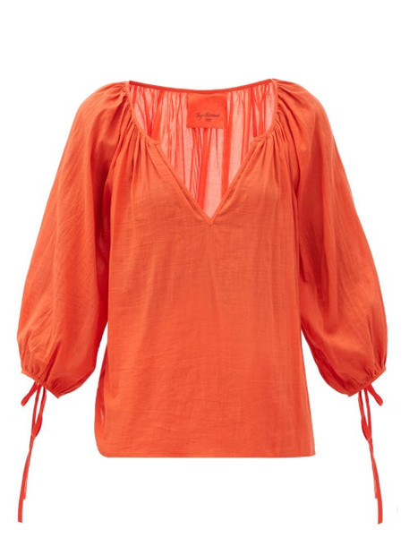 Loup Charmant - Capucine V-neck Organic-cotton Blouse - Womens - Red