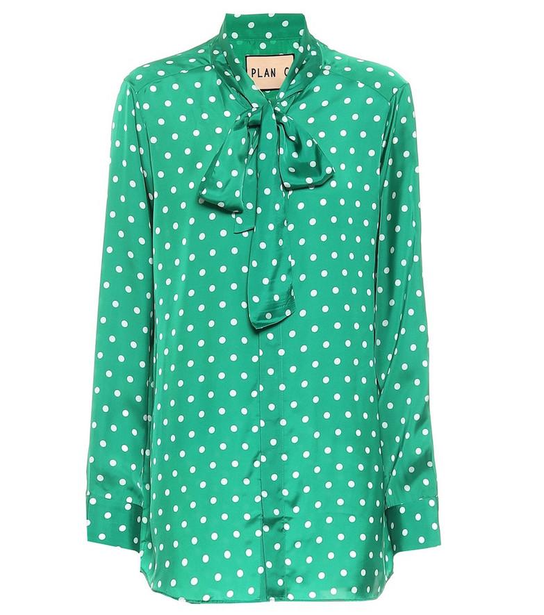 Plan C Polka-dot satin blouse in green