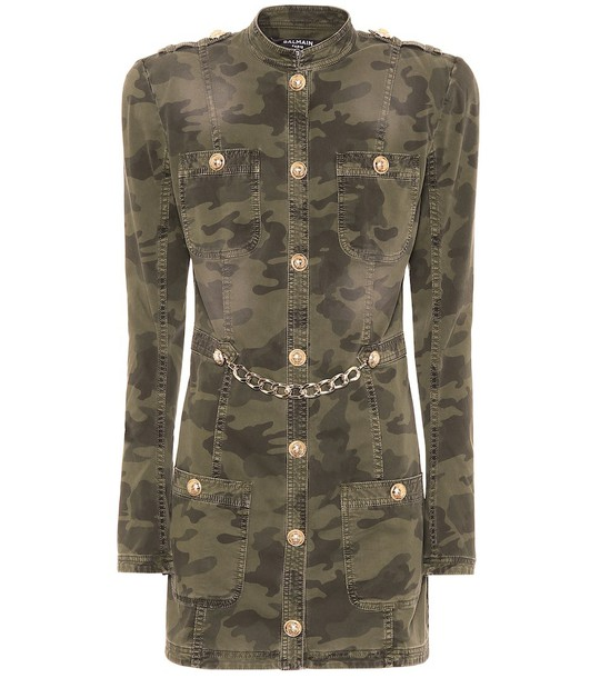 Balmain Camouflage stretch-cotton minidress in green