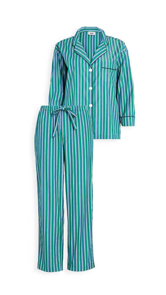 Sleepy Jones Marina Pajama Set in blue / green / white