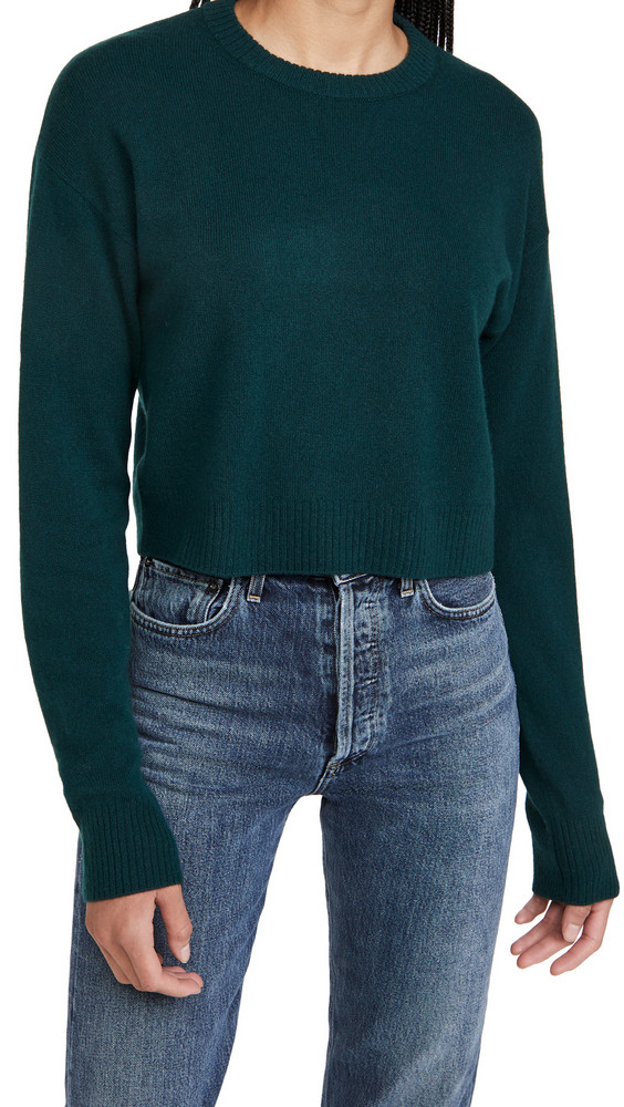 Reformation Relaxed Cropped Cashmere Crew Sweater in emerald