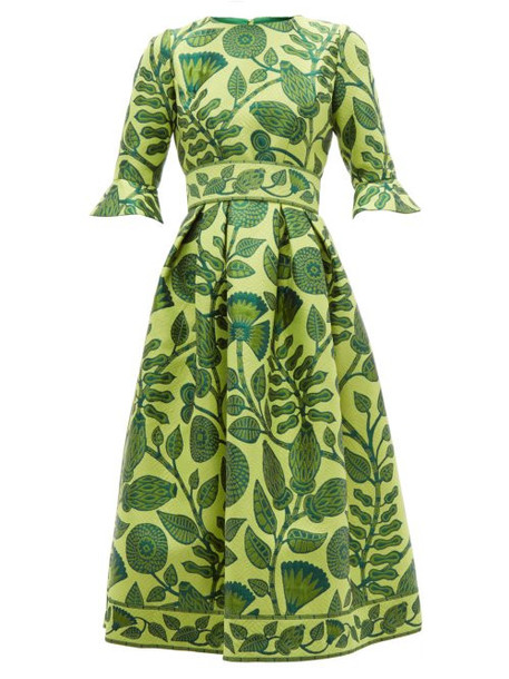 Andrew Gn - Belted Floral Jacquard Midi Dress - Womens - Green Multi