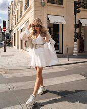 dress,white dress,mini dress,long sleeve dress,sneakers