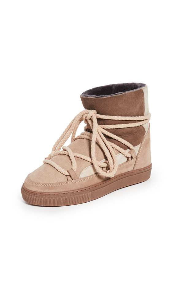 Inuikii Patchwork Shearling Sneakers in beige