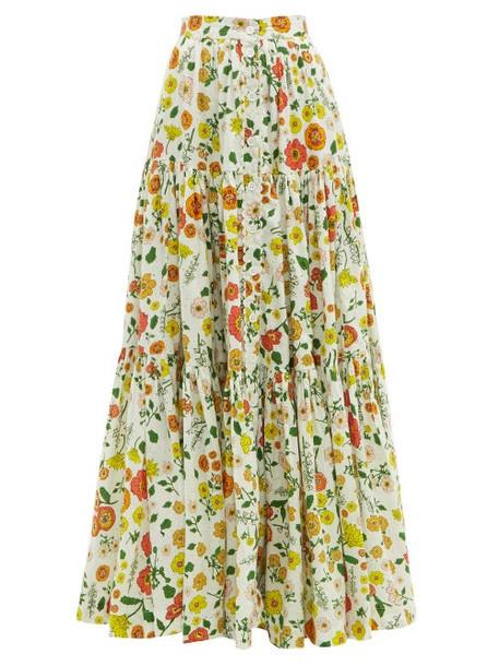 Wiggy Kit - Floral Print Cotton Skirt - Womens - Multi