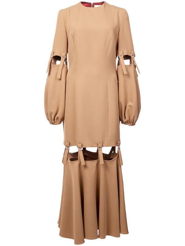 Sara Battaglia cut-out dress in brown