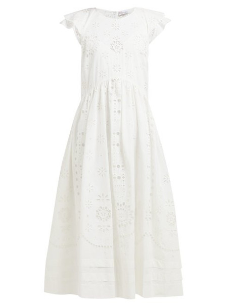Redvalentino - Cap Sleeve Cotton Broderie Anglaise Midi Dress - Womens - White