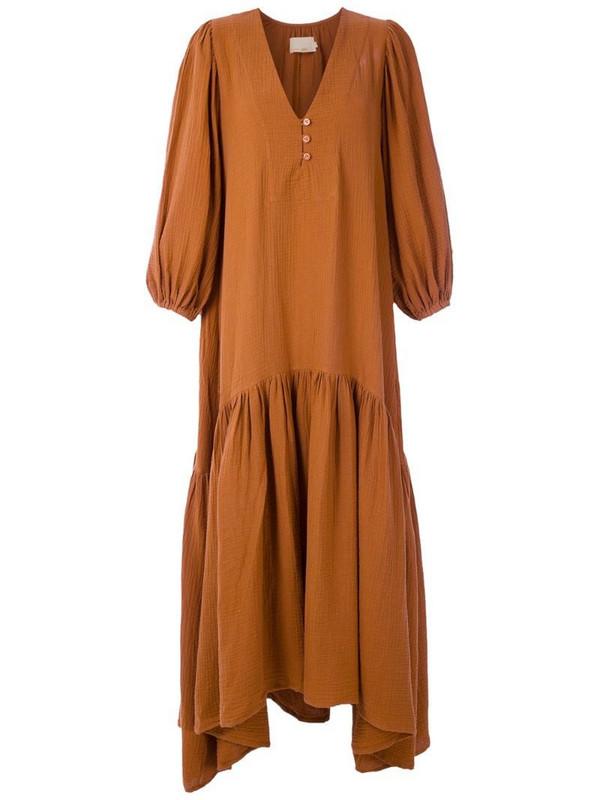 LE SOLEIL D'ETE cotton Almira maxi dress in brown