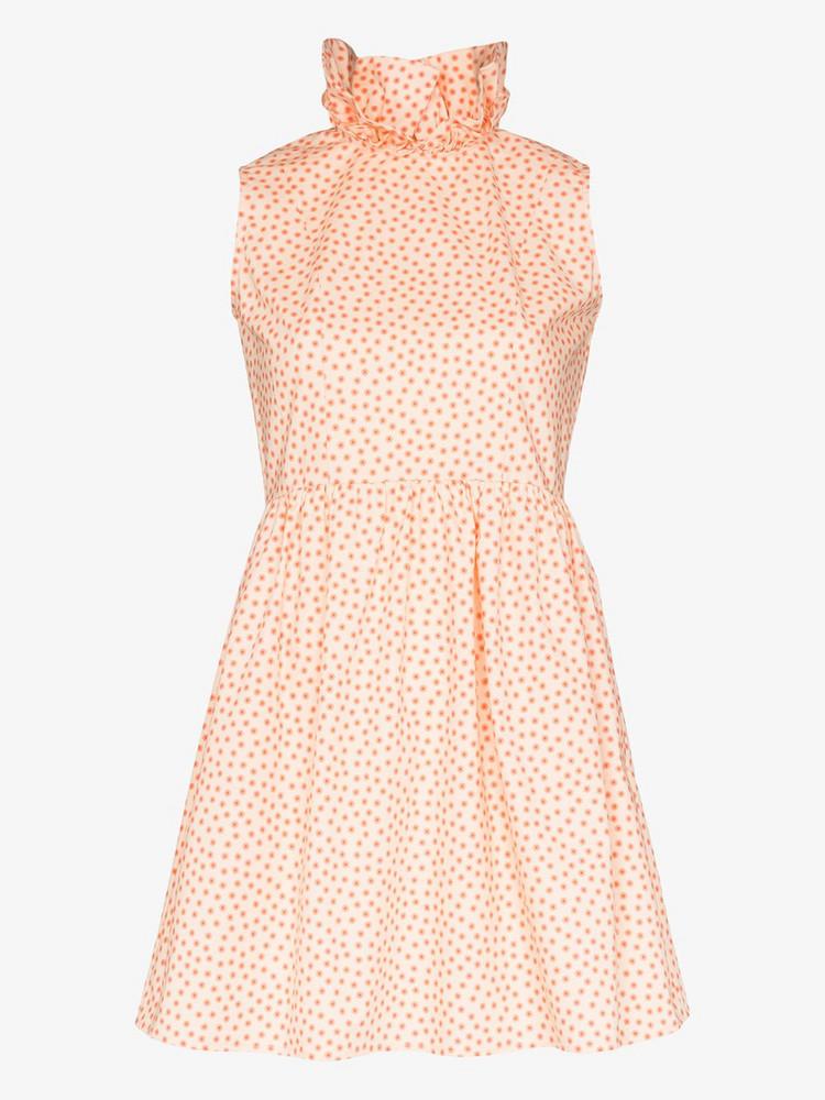 Batsheva Prairie ruffle collar cotton mini dress in orange