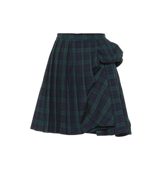 Y/PROJECT Checked wool-blend miniskirt in green