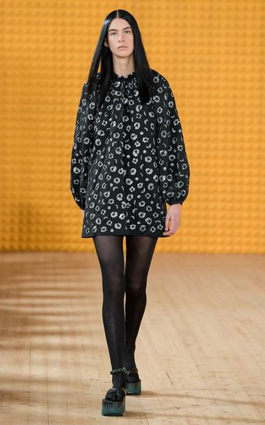Stine Goya Marit Printed Shell Dress in black