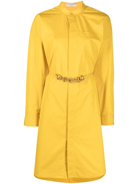Givenchy chain belt shirtdress in yellow