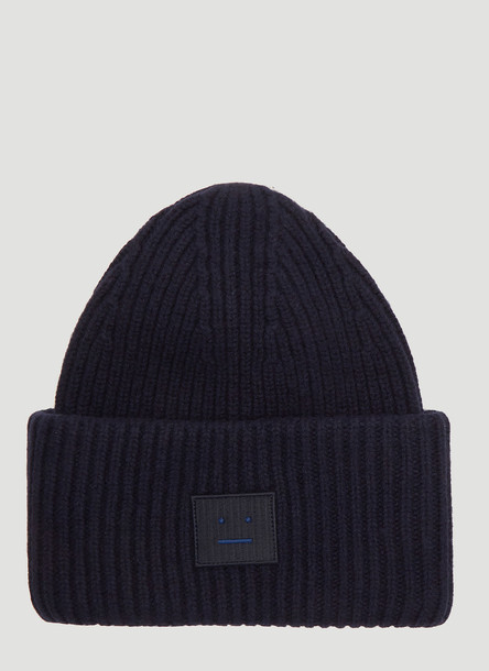 Acne Studios Pansy L Face Knit Hat in Navy size One Size