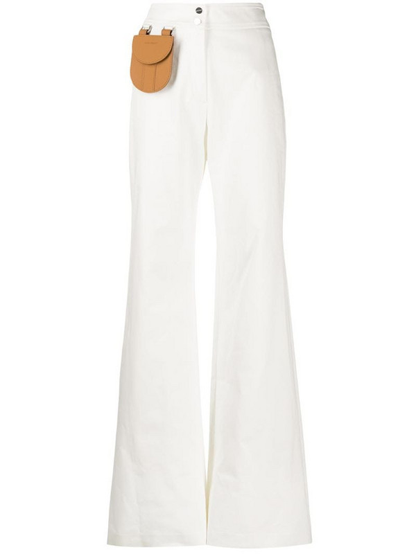 Palm Angels mini pocket palazzo trousers in white