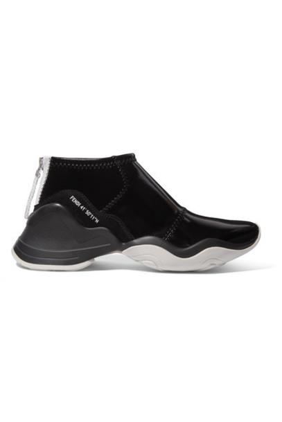 Fendi - Logo-print Suede-trimmed Glossed-neoprene Sneakers - Black