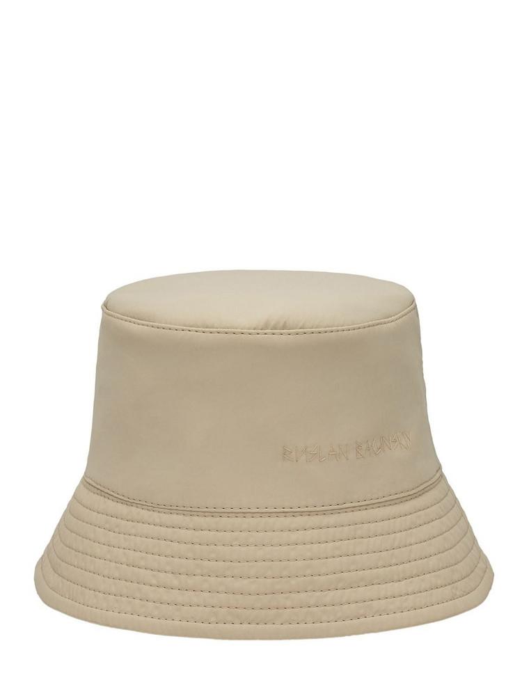 RUSLAN BAGINSKIY Nylon Lampshade Bucket Hat in beige