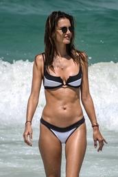 swimwear,black and white,bikini top,bikini bottoms,alessandra ambrosio,model off-duty,celebrity