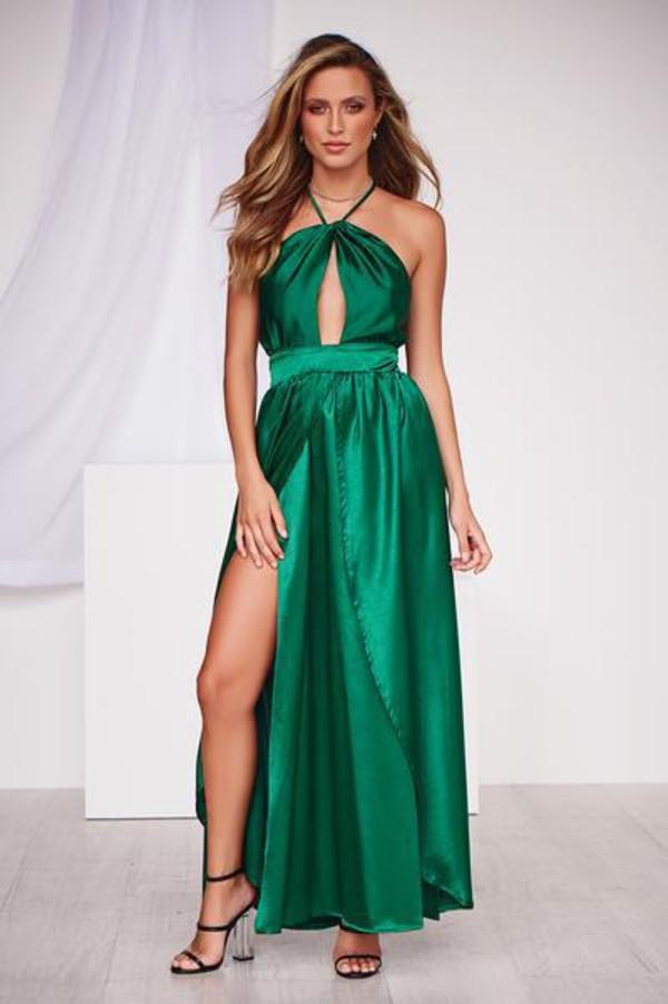 dress jade maxi dress formal dress green maxi dress prom dress cut-out thigh high split