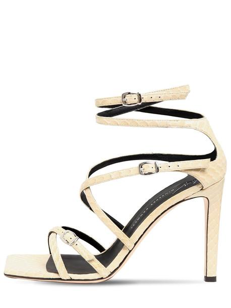 GIUSEPPE ZANOTTI 105mm Python Print Leather Sandals in beige
