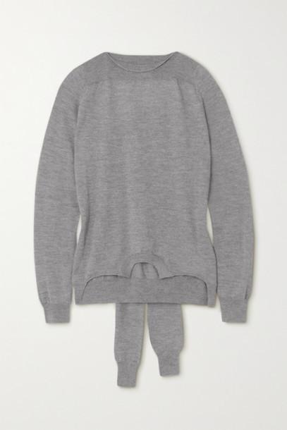 MM6 Maison Margiela - Tie-detailed Mélange Wool Sweater - Gray