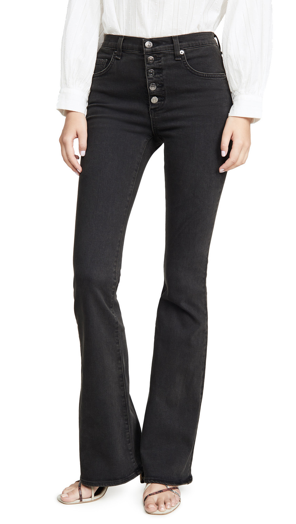 Veronica Beard Jean Beverly High Rise Skinny Flare Jeans in charcoal