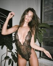 underwear,lace,lace lingerie,bodysuit,sexy,sexy lingerie,celebrity,model,emily ratajkowski