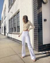 jeans,flare jeans,white jeans,sandals,cropped turtleneck