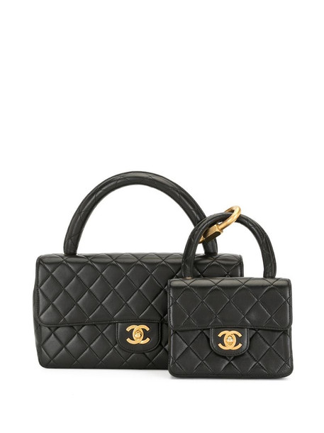 Chanel Pre-Owned 1995 diamond-quilted 2 in 1 bag in black