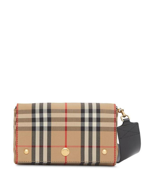 Burberry check print mini bag in neutrals
