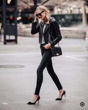 jacket,leather jacket,black jacket,pumps,black skinny jeans,high waisted jeans,black bag,sweater,black sunglasses