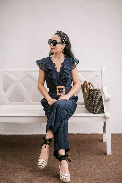 hallie daily blogger jumpsuit bag shoes sunglasses jewels belt espadrilles blue jumpsuit summer outfits