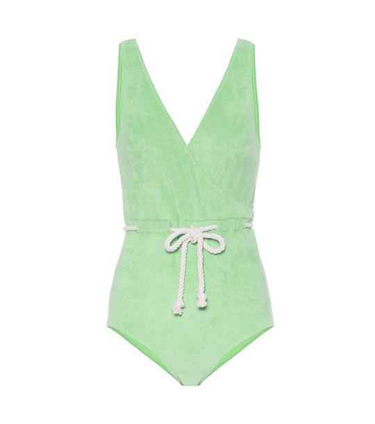 Lisa Marie Fernandez Yasmin terrycloth swimsuit in green