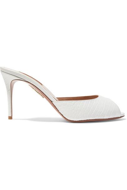Aquazzura - Samantha 85 Croc-effect Leather Mules - White