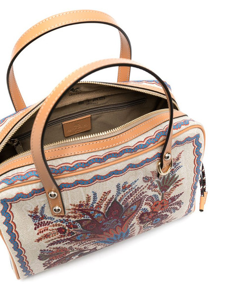 Etro floral embroidered Boston bag in neutrals