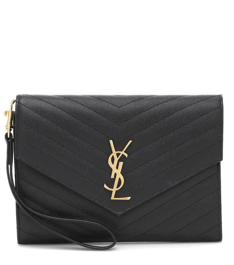 Saint Laurent Monogram leather clutch in black