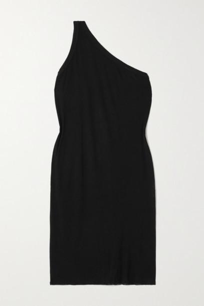 Rick Owens - Anthem One-shoulder Ribbed Jersey Mini Dress - Black