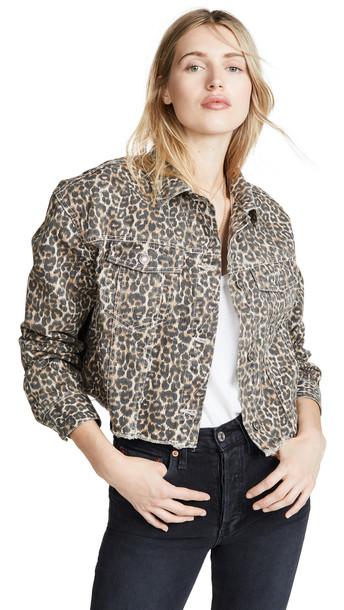 Free People Cheetah Print Denim Jacket