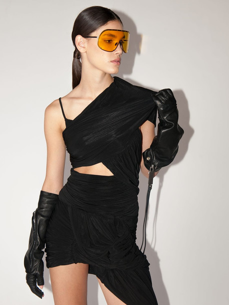 RICK OWENS Draped Stretch Jersey Top W/cut Out in black