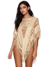 gold cover up,beach bunny,shop ishine365,ishine365,cover up,poncho,fringe poncho,swimwear