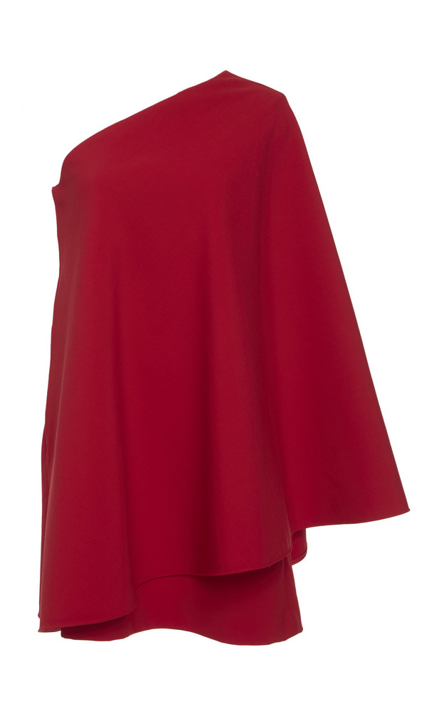 Valentino Draped Wool-Blend Mini Dress in red