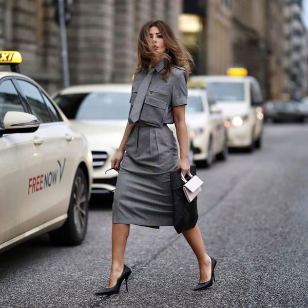 shoes pumps midi skirt grey skirt shirt max mara black bag white bag