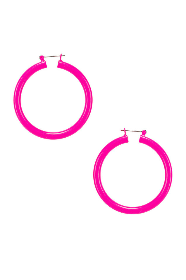 Luv AJ Rainbow Amalfi Hoop Earrings in pink