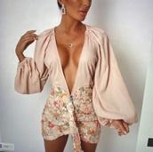 dress,chiffon dress,long sleeves,floral sequin skirt